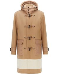 BOSS by HUGO BOSS Relaxed-fit Duffle Coat With Colour-blocking - Natural