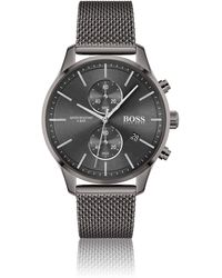 BOSS by HUGO BOSS Grey-plated Chronograph Watch With Mesh Bracelet