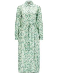 BOSS by HUGO BOSS Shirt Dress In Cotton And Silk With Floral Print - Blue
