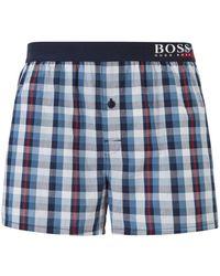 BOSS Boxer-style Checked Pyjama Shorts With Seasonal Logo Waistband - Blue