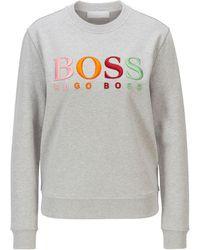 BOSS by HUGO BOSS Sweater Van Biologische Katoen Met Meerkleurig Logostiksel - Metallic