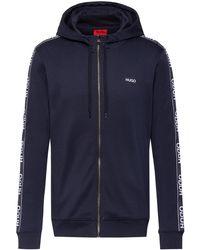 HUGO Zip-through Cotton Hoodie With Reverse-logo-tape Sleeves - Blue
