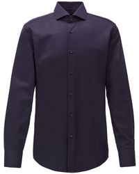 BOSS Slim-fit Shirt In Micro-structured Italian Cotton - Blue