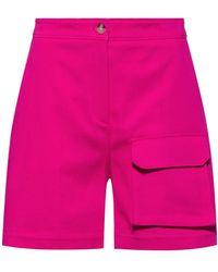 HUGO Regular-fit Shorts Van Stretchkatoen Met Workwear-zak - Roze