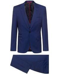 BOSS by Hugo Boss Extra-slim-fit Three-piece Suit In Virgin Wool - Blue