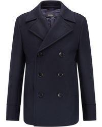 BOSS by HUGO BOSS Slim-fit Pea Coat In A Wool Blend - Blue
