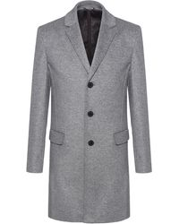 HUGO Slim-fit Coat In A Virgin-wool Blend - Gray