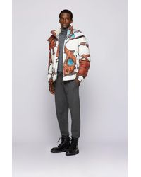 BOSS by HUGO BOSS Regular-Fit Jacke mit Digitaldruck und abnehmbarer Kapuze - Weiß