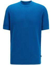 BOSS Short-sleeved Knitted Sweater In Structured Cotton - Blue