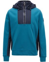 BOSS - Hooded Sweatshirt In French Terry And Technical Fabric - Lyst