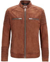 BOSS Slim-fit Biker Jacket In Goat Suede - Brown