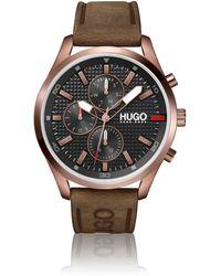 HUGO Horloge Met Gekartelde Wijzerplaat En Polsband Van Bruin Leer Met Logo