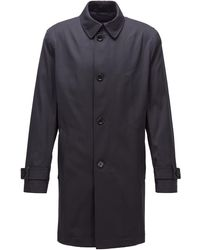 BOSS by Hugo Boss Water-repellent Coat In Midweight Twill - Blue