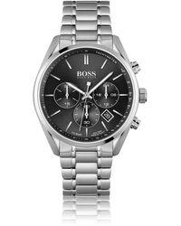 BOSS by Hugo Boss Montre chronographe avec cadran noir et bracelet à maillons - Métallisé