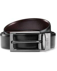 HUGO Reversible Leather Belt With Polished Gunmetal Hardware - Black