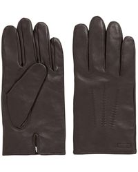 BOSS Lambskin-nappa Gloves With Matt Finish - Brown