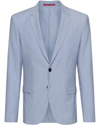 HUGO Extra-slim-fit Jacket In Striped Cotton-blend Seersucker - Blue