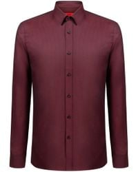 HUGO - Extra-slim-fit Cotton Shirt With Woven Structure - Lyst