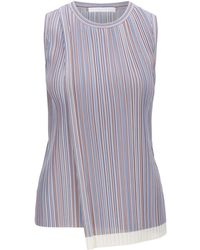 BOSS Sleeveless Top In Striped Plissé With Wrap Front - Multicolour