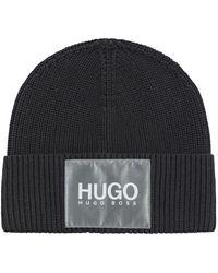 HUGO Beanie Van Een Katoenmix Met Reflecterende Logopatch - Zwart