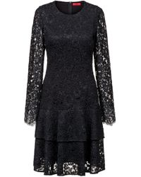 HUGO - Regular-fit Dress In Lace With Volant Skirt - Lyst