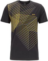 BOSS Slim-fit T-shirt With Geometric Artwork - Black