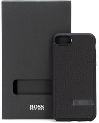 BOSS by Hugo Boss Iphone Case Covered In Italian Leather With Metal Logo Plate - Black