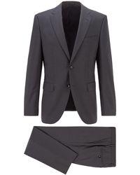 BOSS by HUGO BOSS Gemusterter Regular-Fit Anzug aus Schurwoll-Serge - Grau