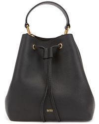 BOSS Drawstring Bucket Bag In Italian Leather With Antique Hardware - Black