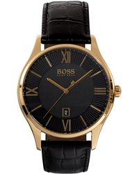BOSS - Black Dial Watch With Black Leather Strap | Governor - Lyst