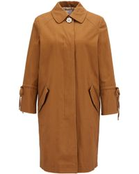 BOSS - Peached Stretch-cotton Coat With Gathered Sleeves - Lyst