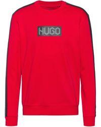 HUGO Sweat en molleton de coton avec logos à imprimé pneu - Rose