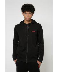 HUGO Sweat à capuche en coton avec logo inversé brodé - Noir