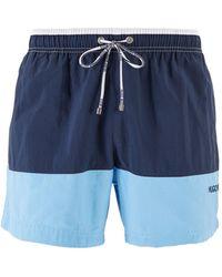 BOSS Colour-block Swim Shorts In Quick-drying Fabric - Blue