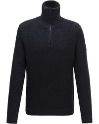 BOSS by Hugo Boss - Zip Neck Ribbed Sweater In Cotton With Virgin Wool - Lyst