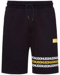 HUGO Cotton-terry Shorts With Tyre-print Logos - Black