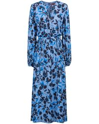 HUGO - Lightweight Midi Dress With Flower Print And Bow Detailing - Lyst
