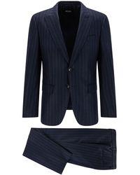 BOSS by HUGO BOSS Slim-fit Suit In Chalk-stripe Virgin Wool - Blue