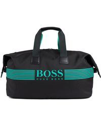 BOSS Holdall In Structured Nylon With Contrast Logo - Black