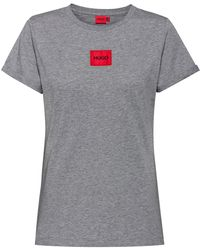 HUGO Slim-fit Cotton T-shirt With Logo Label - Grey
