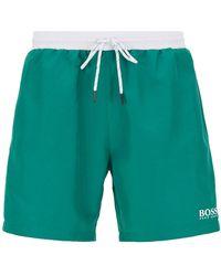 BOSS Medium-length Swim Shorts In Quick-drying Fabric - Green