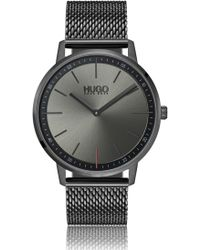 HUGO - Unisex Watch In Grey-plated Stainless Steel With Mesh Bracelet - Lyst