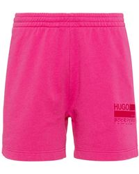 HUGO Relaxed-fit Shorts In French-terry Cotton - Pink