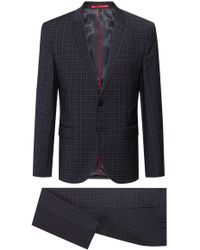 HUGO Extra-slim-fit Checkered Suit In A Wool Blend - Blue
