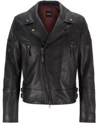 BOSS - Short-length Biker Jacket In Nappa Leather - Lyst