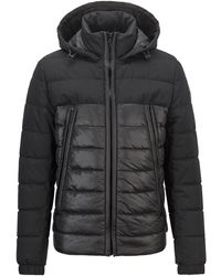 BOSS by Hugo Boss Hybrid Padded Jacket With Recycled Wadding And Hood - Black