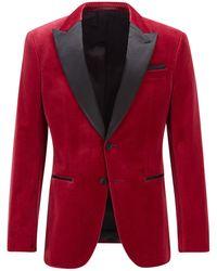 BOSS by HUGO BOSS Slim-Fit Smoking-Jacke aus Samt mit Seidenbesatz - Rot