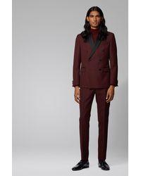 BOSS Costume Slim Fit avec veste croisée et détails en soie - Rouge