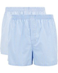 BOSS by Hugo Boss Paquete de dos shorts de pijama en popelín de algodón - Azul