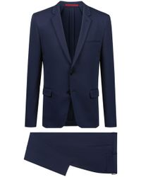 ea18b934 BOSS Hugo Sharkskin Aeron/hamen Extra Slim Fit Suit in Blue for Men - Lyst